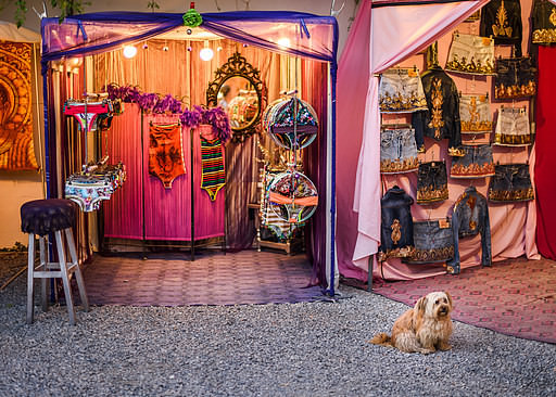 The hippie night market in Las Dalias, Ibiza, Spain