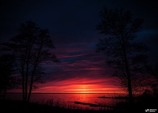 Unique sunset on Vänern