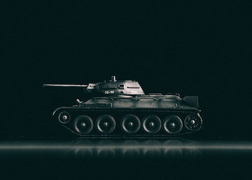 Miniature T 34-85 tank shot